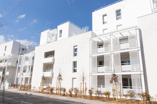 Modern Building Facade white on blue sky © sylv1rob1