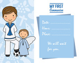 my first communion. Little boy with angel and pace for text