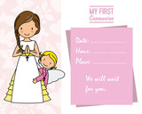 my first communion. Girl with angel and  space for text