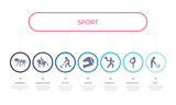 simple illustration set of 7 vector blue icons such as golf, gymnastics, handball, _icon4, hockey, horse racing, horseball. infographic design with 7 icons pack