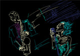 Saxophonist and singer. Grattage technique. Silhouette of saxophone player and songstress. Jazz illustration. Colorful drawing on black background. Vector sketch.