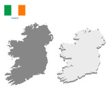 Ireland map with vector flag