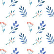 Seamless pattern with herbs. Blue leaves isolated on white background. Floral pattern for wallpaper or fabric - 259560400