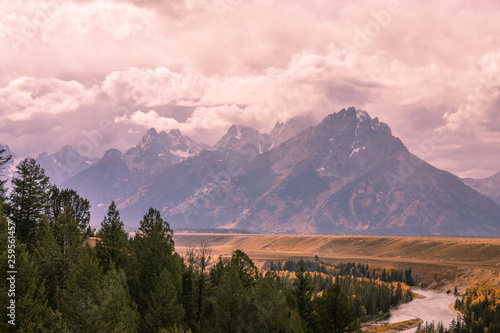 Scenic Tetons Mountain Range in Wyoming in Fall