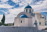 Santorini white and blue church, Greece.