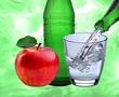 canvas print picture - Wasserglas mit Apfel