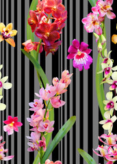 Seamless photorealistic pattern of multicolored orchids on a striped background. Floral print fabric, the basis for various designs.