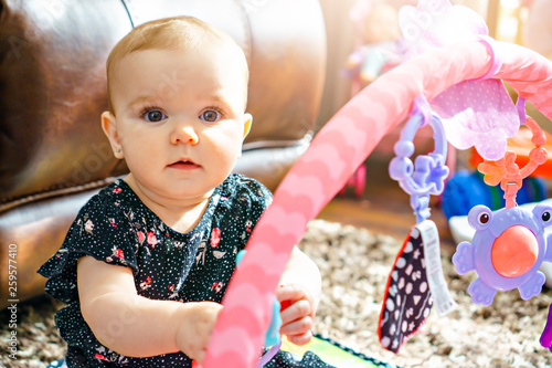 Leinwandbild Motiv A cute baby playing with colorful toy at home