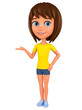 Cartoon character girl points hand at empty space on a white background. 3d rendering. Illustration for advertising.