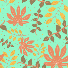 Seamless pattern of tropical leaves on green background. Vector design. © AnatoliiUntilov