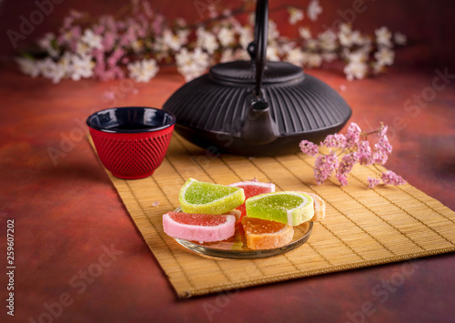 Japanese teapot with jeally candies © whiteflower