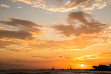 Sailboats at Sunset Mallory Square Key West