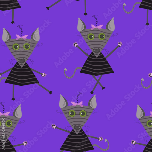 fototapeta na ścianę Seamless pattern of the gray kitten on a blue background