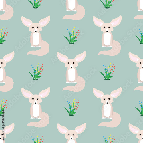 fototapeta na ścianę Animal seamless pattern. Small cute fennec with big ears.