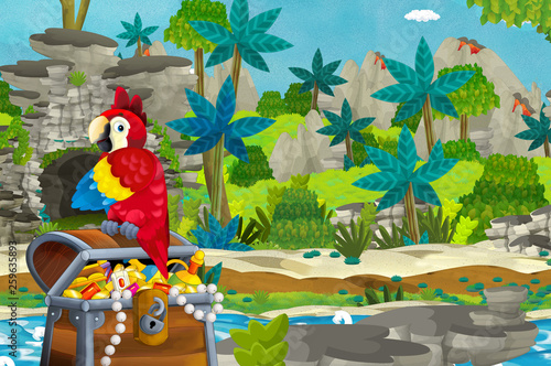 cartoon scene with parrot and treasure in the jungle - illustration for children - 259635893