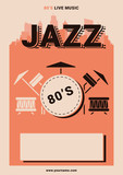 Jazz Cafe. Poster for a party in the style of the 80s. Invitation to jazz party.