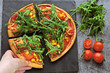 canvas print picture - Vegan pizza with fresh arugula, corn and tomatoes. Healthy pizza.