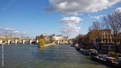 fototapeta na ścianę Paris, France - March 11, 2019: View of Seine River, Cite Island and bridge Pont Neuf
