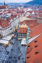 Christmas Market stands near the Old Town Square in Prague, Czech Republic