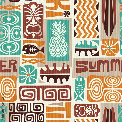Seamless Exotic Tiki Pattern. Use for wallpaper, fabric patterns, backgrounds. Vector illustration - 259660666