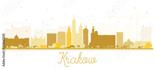Krakow Poland City Skyline Silhouette with Golden Buildings Isolated on White. © BooblGum