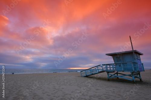 Lifeguard tower at sunset at Hermosa Beach, California - 259673269