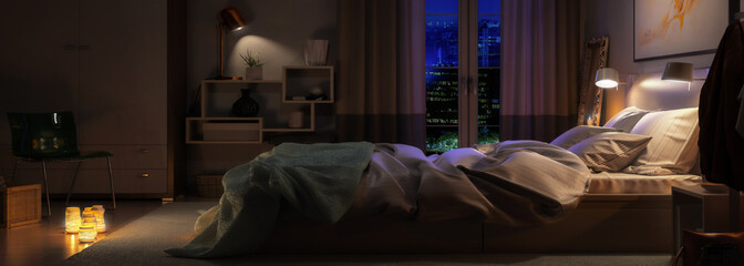 Modern Bedroom Arrangement by Night (panoramic) - 3d visualization