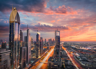Skyline of downtown Dubai city with Sheikh Zayed Road