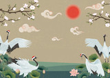 Background with Japanese cranes, blooming magnolia, lotuses and sunset