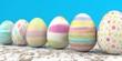 Leinwanddruck Bild - Colored Easter Eggs Wooden Table
