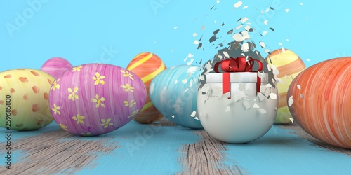 Gift Box Colored Easter Eggs