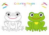 Śmieszna mała żaba. Skopiuj zdjęcie. Kolorowanka. Gra edukacyjna dla dzieci. Ilustracja kreskówka wektor