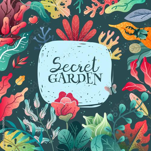 Spring summer decorative frame illustration. A wide variety of plant elements. - 259690413