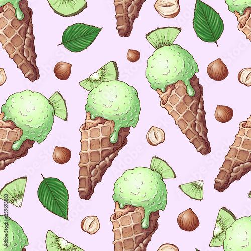fototapeta na ścianę Seamless pattern ice cream nuts kiwi. Hand drawing. Vector illustration