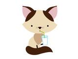 kitten character drinking milk