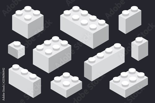 fototapeta na ścianę Isometric Plastic Construction Toy Parts Pieces Constructor Brick Block. Seamless Pattern.