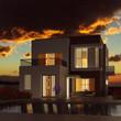Leinwandbild Motiv Modernes Eigenheim bei Sonnenuntergang im Sommer