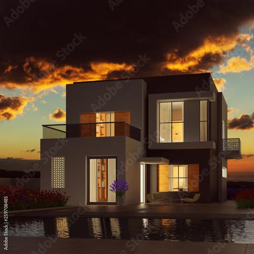 Modernes Eigenheim bei Sonnenuntergang im Sommer © Robert Kneschke