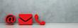 Leinwanddruck Bild - Rote Hotline und Service Kontakt Icons als Panorama