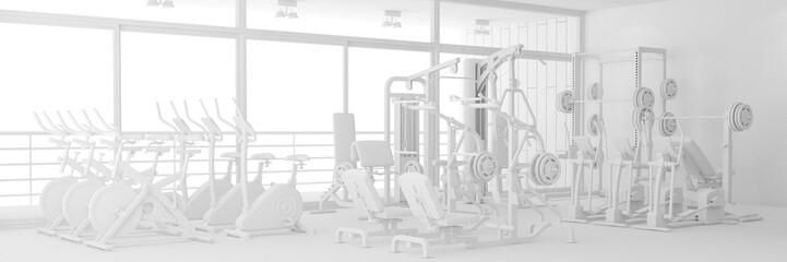 Fitnesscenter mit Geräten in weiß