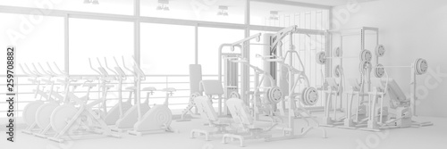 Fototapeten Fitness Fitnesscenter mit Geräten in weiß