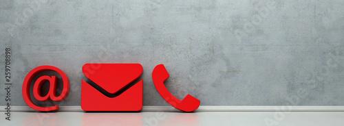 Leinwanddruck Bild Rote Hotline und Service Kontakt Icons als Panorama