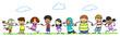 Leinwandbild Motiv Multikulturelle Kinder im Kindergarten halten Hände