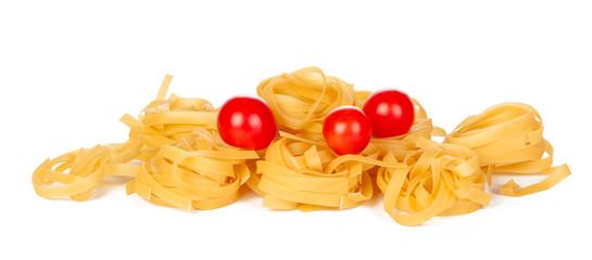 Raw tagliatelle pasta isolated on white background. © NewFabrika