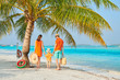 Family of three on beach under palm tree - 259723252