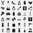 Woman shoe icons set. Simple style of 36 woman shoe vector icons for web for any design