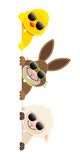 Küken, Osterhase & Schaf Sonnenbrille Banner Vertikal