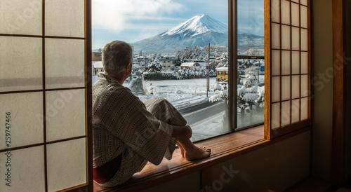 Fuji Mount at the window, Japan - 259747466