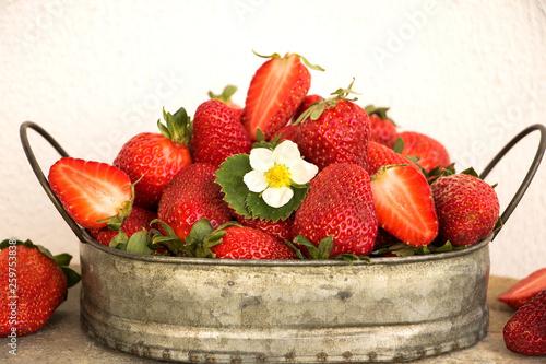 canvas print picture erste erdbeeren im frühling mit blüte in schöner schüssel