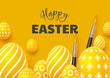 Happy Easter holiday background. 3d realistic eggs with brushes on yellow background. Vector illustration.
